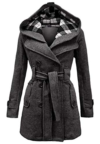 OMZIN Women Lapel Dress Coat Mid Length Winter Classic Pea Coat Dark Grey ()