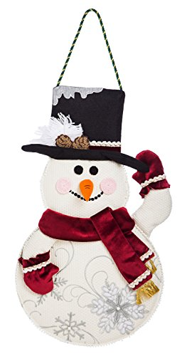 Evergreen Flag Snowman Outdoor Safe Burlap Door Decor]()