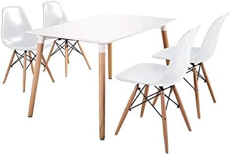 120 x 80 x 75 cm Venprodin Tavolo da pranzo o cucina rettangolare stile nordico con gambe in legno di faggio