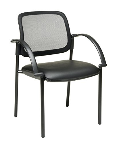 Office Star Screen Back and Padded Faux Leather Seat Visitor