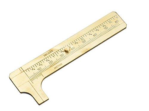 QA/_ Mini Brass 80mm Ruler Sliding Gauge Vernier Caliper Jewelry Measuring Tool