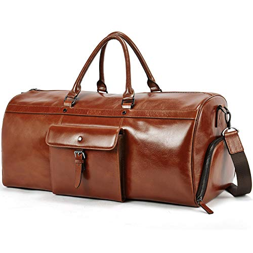 Duffle Bags for Men Oil Wax Genuine Leather Large Weekender Travel Bags Shoe Compartment Luggage for Women