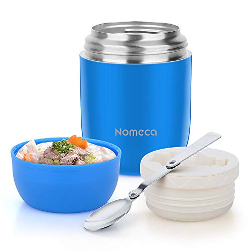Food Jar Insulated Lunch Containers Nomeca 16 Oz Stainless Steel Thermoses Food Flask Lunch Box Vacuum Bottle with Folding Spoon (Blue) (Best Food Flask For Hot Food)