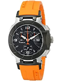 Womens T0482172705700 T-Race Black Chronograph Dial Orange Strap Watch