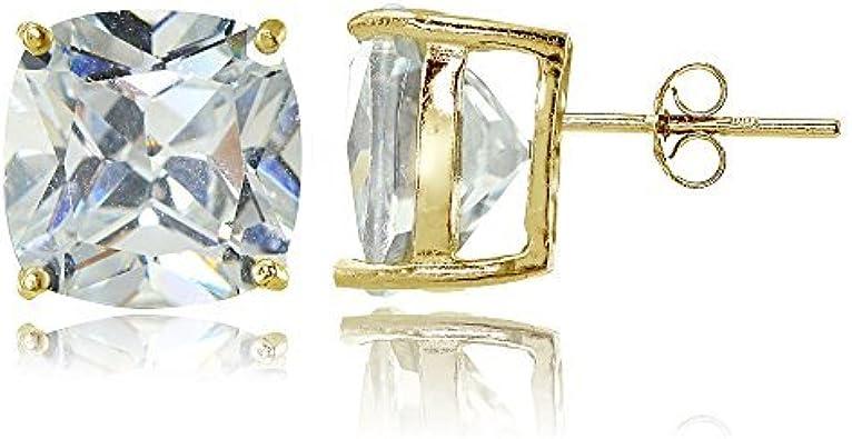 Sterling Silver Cubic Zirconia Cushion-Cut Halo 10mm Stud Earrings