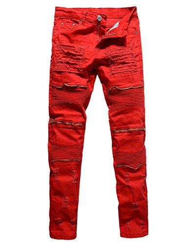 [Men's Distressed Ripped Biker Moto Denim Pants Slim Fit Zipper Jeans (W34, Red)] (Distressed Jeans Pants)