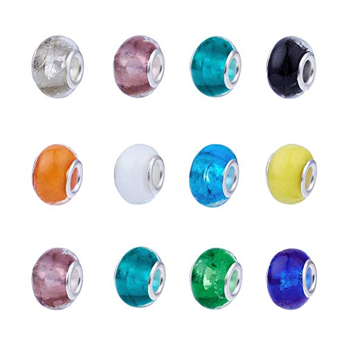 (Pandahall 200pcs Glass Lampwork European Beads Large Hole Beads Bracelet Rondelle Slide Charms with Metal Cores Jewelry Makings Mixed Color 14x10x5mm)