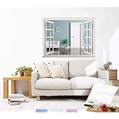 Grand Print, That's 100% USA Made, Removable Wall Sticker Wall Mural Interior of a Room with Door and Armchair Creative Window View Wall Decor
