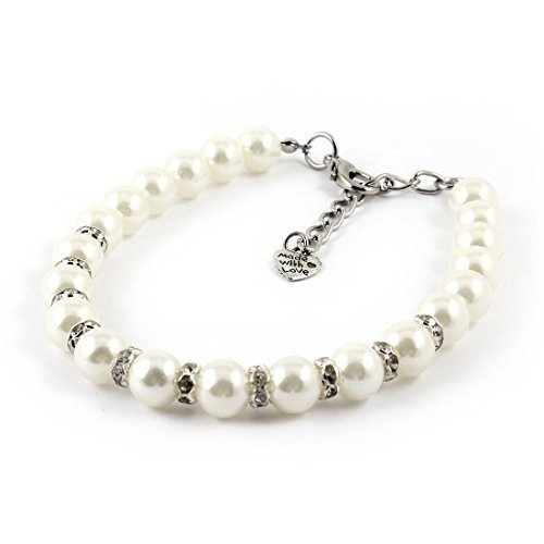 Forever Love White Faux Pearl Linked Rhinestone Pet Dog Yorkie Collar Necklace S