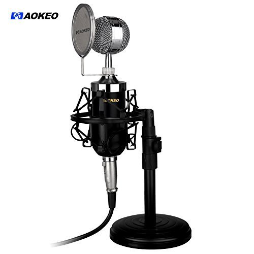 Aokeo AK-15 Desktop Broadcast & Recording Condenser Microphone with Audio Cable Bundle with Iron Desktop 4.7 - 7.5- Inch Mic Stand, Metal Shock Mount and Mic Wind Screen Filter Shied by aokeo