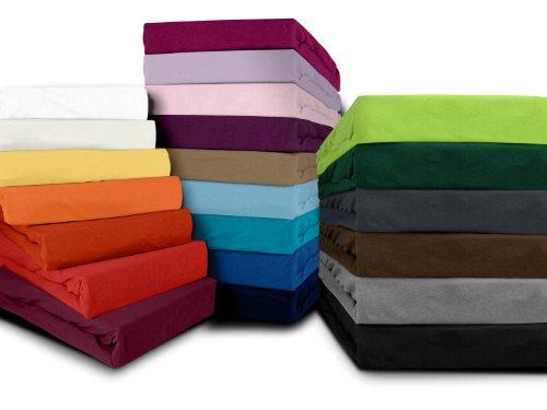 klassisches Jersey Spannbetttuch - erhältlich in 22 modernen Farben und 6 verschiedenen Größen - 100% Baumwolle, 180-200 x 200 cm, flieder