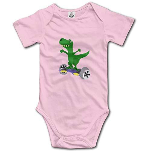 Dinosaur On Hoverboard Baby Short-Sleeve Onesies Baby Boys Girls Pink