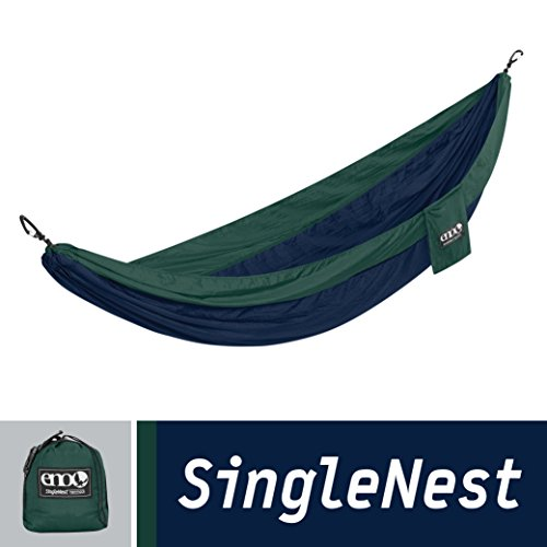 ENO Eagles Nest Outfitters - SingleNest Hammock, Portable Hammock for One, Navy/Forest (FFP)