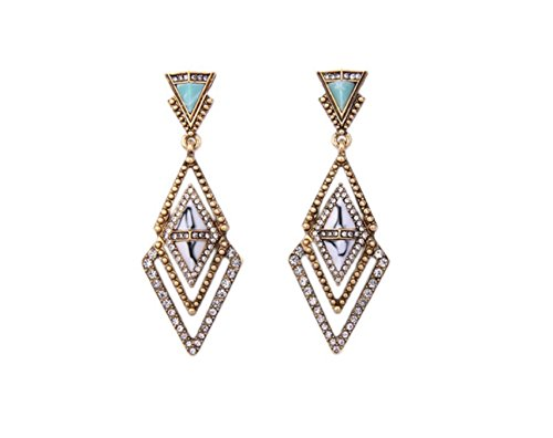 Vera Lotus Accent (New Fashion Dangle Earrings Antique Gold Color Statement Jewelry Women Earrings)