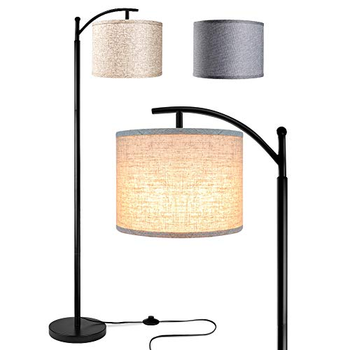 Rottogoon Floor Lamp for Living Room, LED Standing Lamp with 2 Lamp Shades for Bedroom, 9W LED Bulb Included – Black
