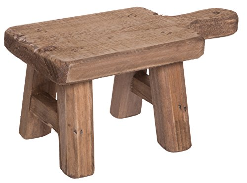 Red Co. Casual Country Mini Square Wooden Stool, Shabby Chic Display Stand and Table Top Potted Plant Holder, 6 Inches High (Antique Stools Wooden)