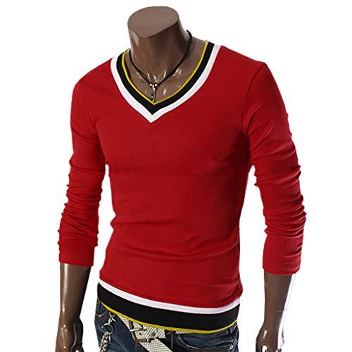 V Uomo Lunghe Colore xxxl Da Casual Red Maglietta Camicia T M Patchwork Collo Rcool Camicetta A Maniche shirt Maglia 3 qaXvC