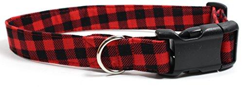 Bonfire Plaid, Red Gingham Designer Dog Collar, Adjustable Handmade Fabric Collars (M)
