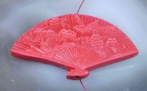 1 Red Cinnabar Fan Pendant Bead 34x60mm
