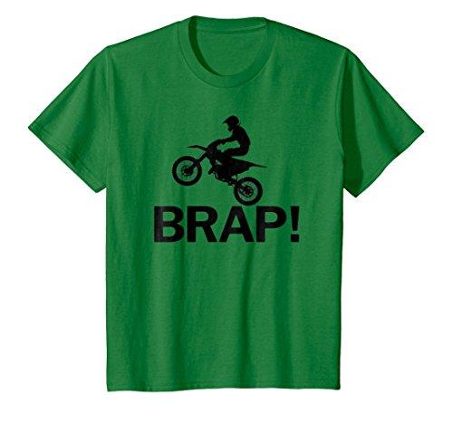 Kids MX Brap Dirt Bike Motocross T-Shirt 6 Kelly Green