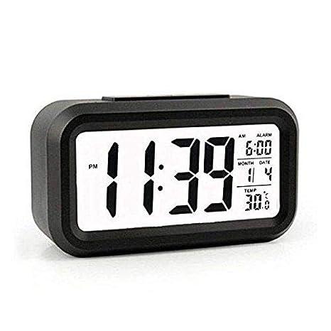 Saysha Lcd Screen Digital Alarm Clock With Date & Temperature Display & Backlight - Black