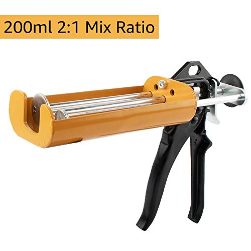 Manual Epoxy Applicator Gun 200 mL/6.75 fl oz (2:1 Mix Ratio) Dual Component Adhesive Cartridge Applicator Double Caulk Gun 2 Part Caulking Gun, 26:1 High Thrust Ratio for 08115 08116 -Vitality Yellow