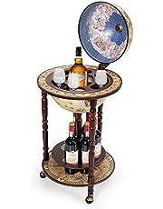 "Goplus 17.5"" Wood Globe Wine Bar Stand 16th Century Italian Rack Liquor Bottle Shelf with Wheels"