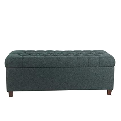 Cool Amazon Com Meadow Lane 48 Inch Tufted Storage Bench Navy Squirreltailoven Fun Painted Chair Ideas Images Squirreltailovenorg