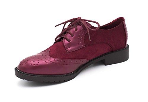 Fashion Cordones Zapatos Oui granate de Mujer x0YndBxgqp