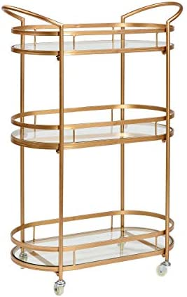 Old Dutch International Westwood Gold 26 x 12 x 37 Bar Serving Cart, 26.75×12.5×37.375