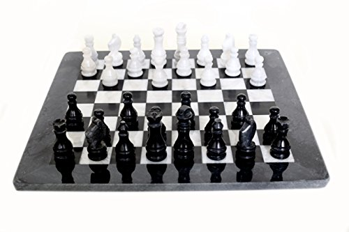 (RADICALn Handmade Marble Weighted Black and White Staunton Tournament Chess Board Games Set - Non Checker Non Go Non Wooden - Elegant Home Décor Chess Game Sets Gift for Family)