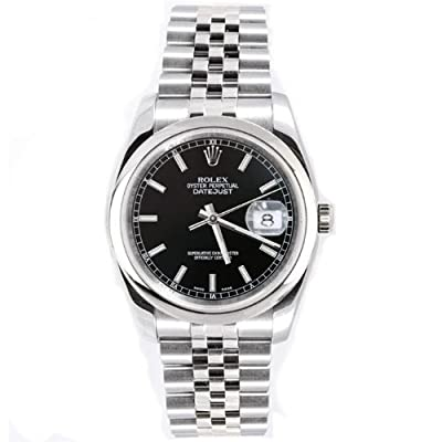Rolex Mens New Style Heavy Band Stainless Steel Datejust Model 116200 Jubilee Band Stainless Steel Smooth Bezel Black Stick Dial