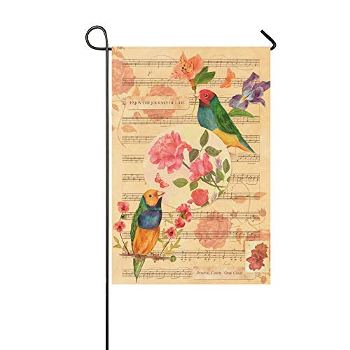 WBSNDB Home Decorative Outdoor Double Sided Victorian Style Collage Postcard Drawings Garden Flag,House Yard Flag,Garden Yard Decorations,Seasonal Welcome Outdoor Flag 12 X 18 Inch Spring Summer Gift
