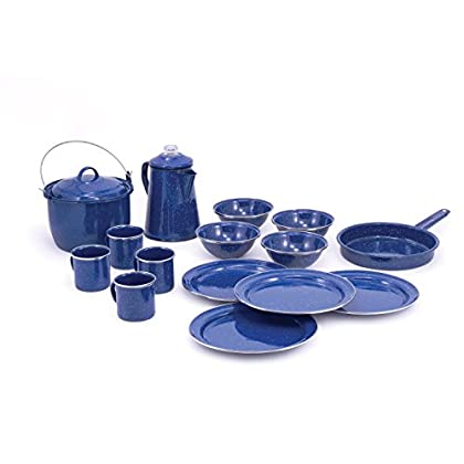 Image of Camp Kitchen GSI Outdoors Pioneer Enamelware Camp Set with All Your Camping Needs for Four with Pot, Pan, Table Setting and Percolator in Durable and Classic Design