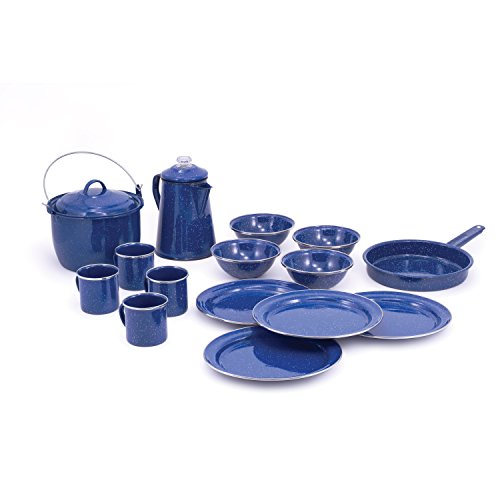 GSI Outdoors Pioneer Enamelware Camp Cooking and Table Set, 4 Place Settings, Blue
