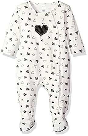 Petit Lem Baby Girls' Heart Print Footie, Rock Star, 3 Months