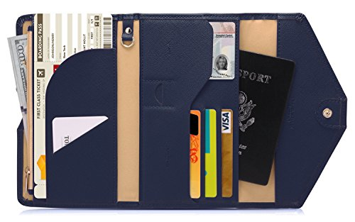 - Zoppen Mulit-purpose Rfid Blocking Travel Passport Wallet (Ver.4) Tri-fold Document Organizer Holder, Navy Blue