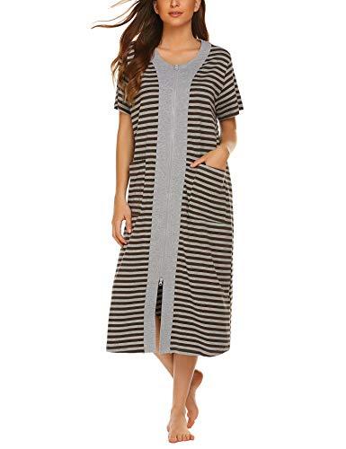 - Ekouaer Women Zipper Robe Short Sleeve Loungewear Striped Nightgown Duster Housecoat with Pockets S-XXL Brown