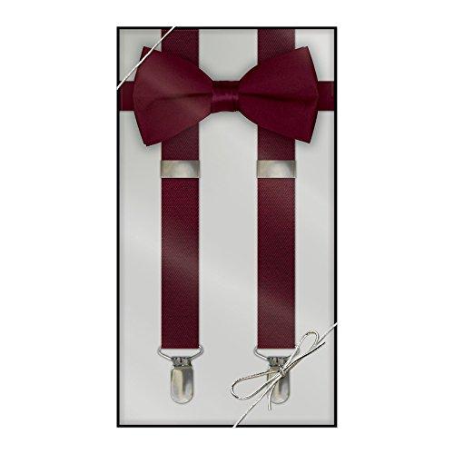 Tie Set Suspenders (Suspender & Bow Tie Set (Kids, Burgundy))