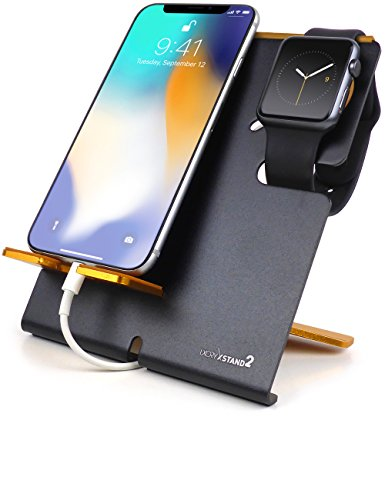 LXORY XStand2 Stand and Phone Dock – 2 in 1 Duo Charging Station Made For All iPhone and Apple Watch Models (38mm, 42mm Series 3,2,1) – Aluminum Charger Holder (V2 Black-Orange)