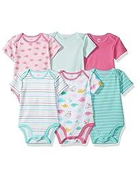 Amazon Essentials Baby Girls 6-Pack Short-Sleeve Bodysuit