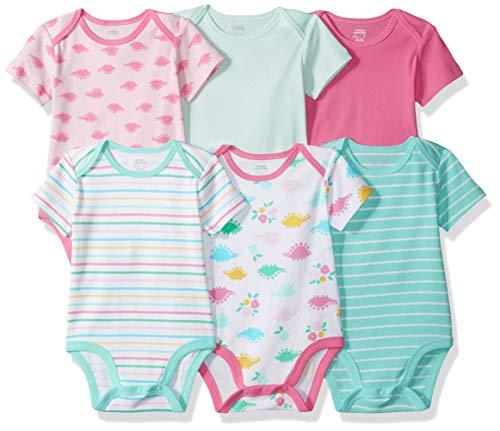 Amazon Essentials Girls' Baby 6-Pack Short-Sleeve Bodysuit, Dino, Newborn