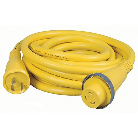 Hubbell HBL61CM03 Marine Cable, 25', 30 amp, 125V, Yellow (Pack of 1) 30a 125v Shore Power Cable