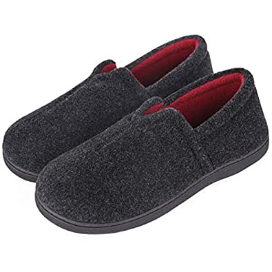 Men's Comfort Micro Wool Felt Memory Foam Loafer Slippers Anti-Skid House Shoes for Indoor Outdoor Use (8 M, Black)