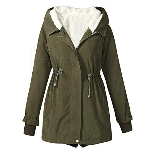 Limsea Women Outwear Jacket Overcoat Winter Casual Long Sleeve Solid Hooded Top ThickerGreen Large