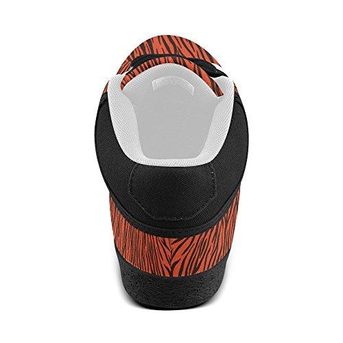 D-histoire Personnalisé Zèbre Orange Rayures Chaussures De Toile Chukka Femmes (modèle 003)