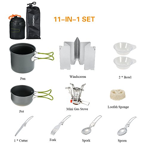 TOMSHOO Outdoor Camping Cookware Set Hiking Backpacking Cooking Picnic Cooking Pot Pan Bowl Spoon Fork Spork Cutlery Dinnerware Folding Piezo Ignition Camping Stoves 11PCS