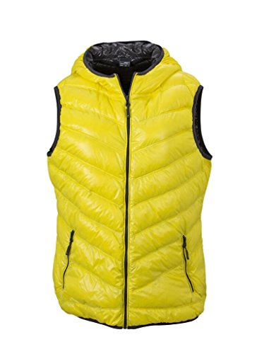 JAMES & NICHOLSON Ultra light down vest with hood in casual style Yellow/Carbon