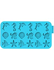 SiliconeZone Chocochips Collection 8.9 Non-Stick Silicone Ocean Chocolate Wafer Mold, Blue