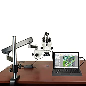 OMAX 3.5X-90X Trinocular Boom Stand Zoom Stereo Microscope for Soldering Repair